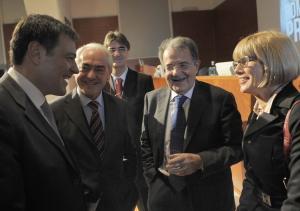 Il saluto del sindaco Ballarè all'ex Premier Prodi
